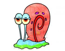 一起来学习画卡通蜗牛简笔画【彩色】