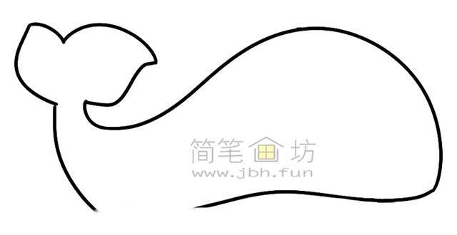 鲸鱼简笔画绘画步骤(2)