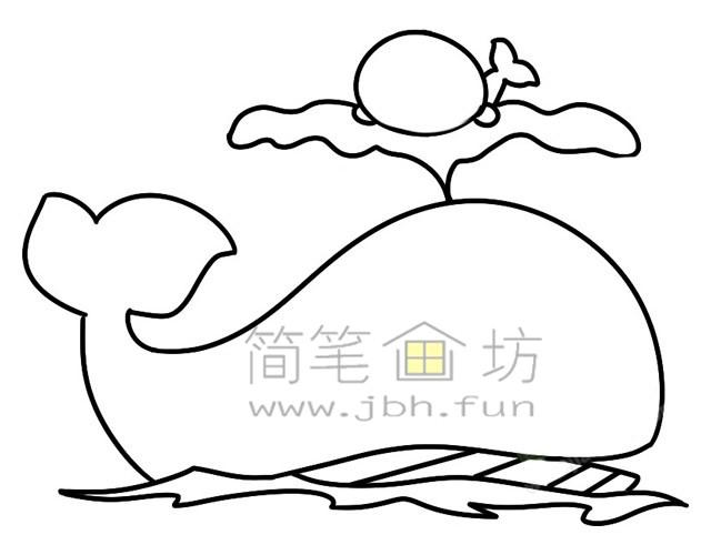 鲸鱼简笔画绘画步骤(3)
