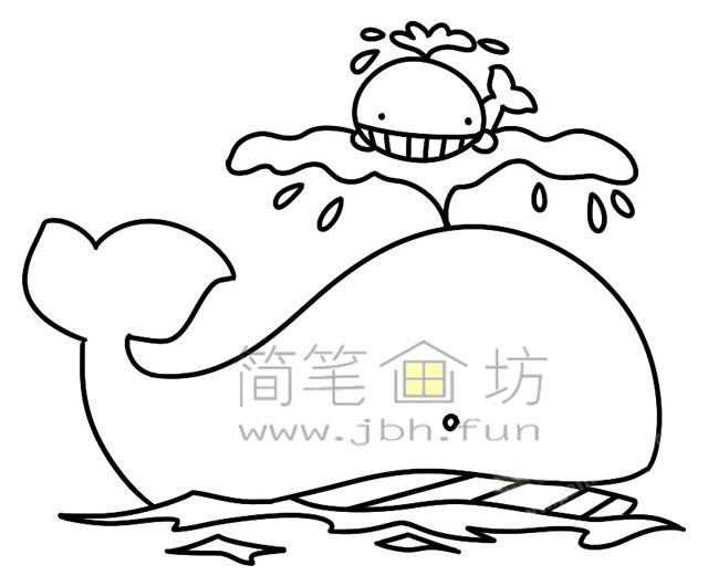 鲸鱼简笔画绘画步骤(4)