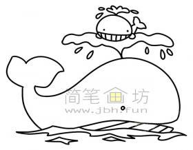 鲸鱼简笔画绘画步骤