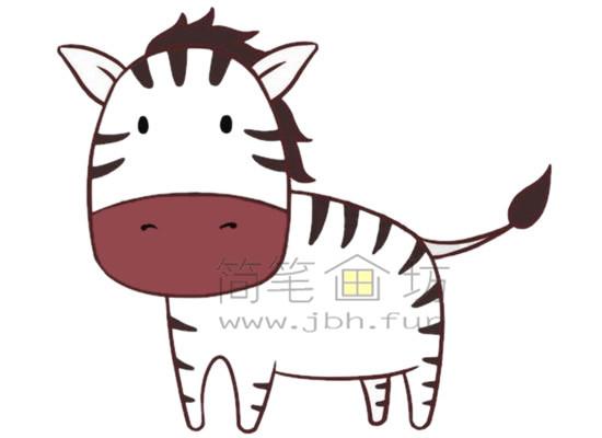 斑马简笔画绘画步骤【彩色】(5)