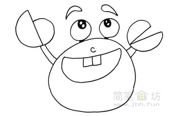 卡通螃蟹简笔画步骤图解教程(3)