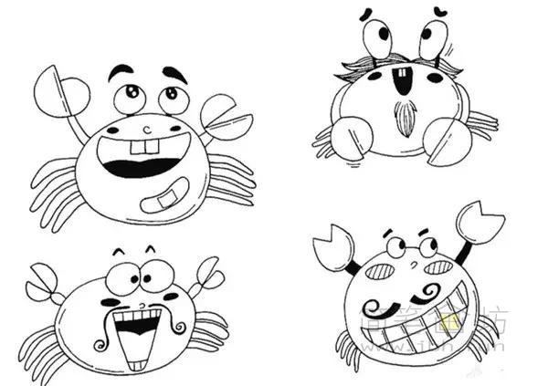 卡通螃蟹简笔画(1)