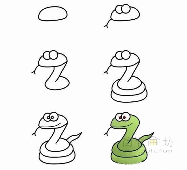 卡通青蛇简笔画步骤【彩色】(1)