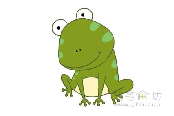 卡通青蛙简笔画步骤图片教程【彩色】(6)