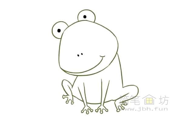 卡通青蛙简笔画步骤图片教程【彩色】(4)