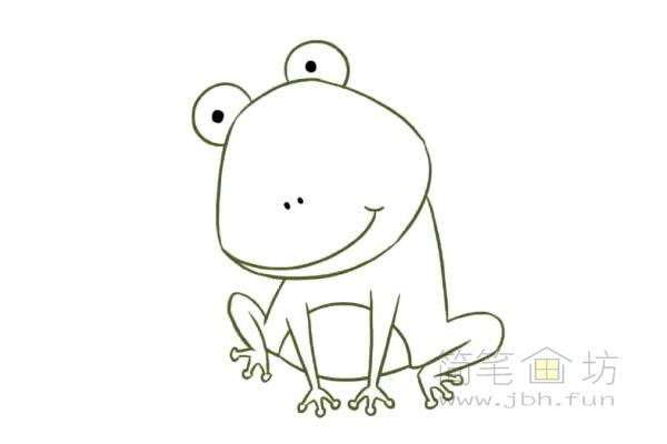 卡通青蛙简笔画步骤图片教程【彩色】(5)