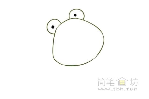 卡通青蛙简笔画步骤图片教程【彩色】(2)