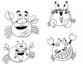 卡通螃蟹简笔画