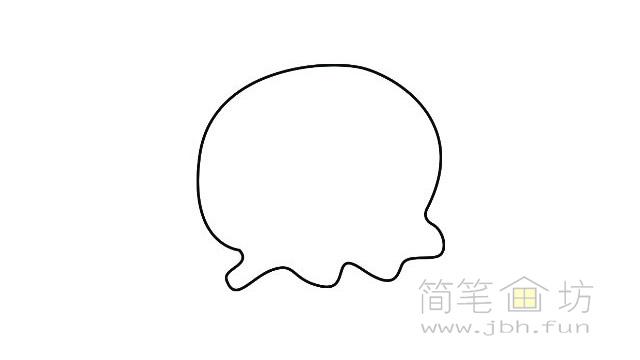 卡通水母简笔画的画法【彩色】(1)