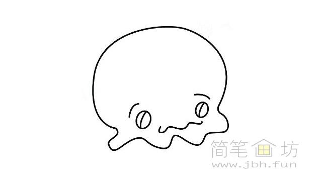 卡通水母简笔画的画法【彩色】(2)