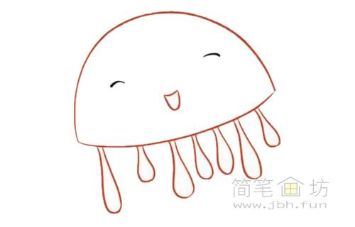卡通水母简笔画的画法【彩色】(3)