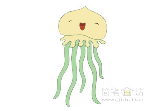 卡通水母简笔画图片大全【彩色】(3)