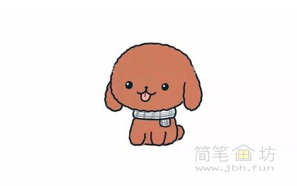 卡通贵宾犬简笔画步骤图解教程【彩色】(5)