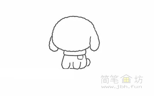 卡通贵宾犬简笔画步骤图解教程【彩色】(3)