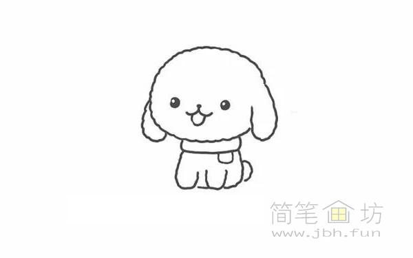 卡通贵宾犬简笔画步骤图解教程【彩色】(4)