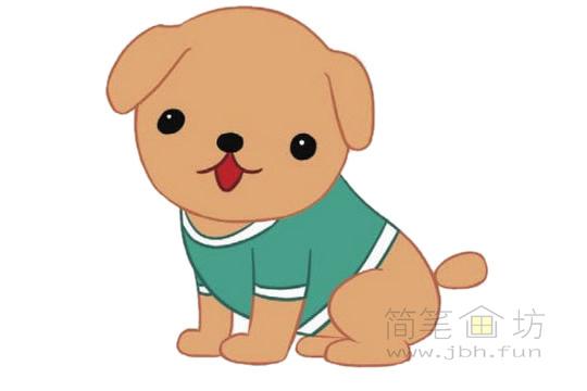 卡通小狗简笔画图片大全【彩色】(4)