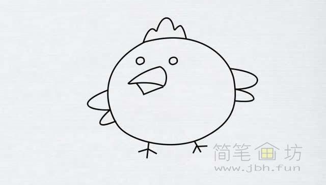 卡通小鸡简笔画的画法【彩色】(6)