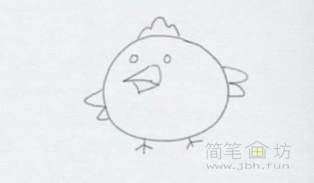 卡通小鸡简笔画的画法【彩色】(5)