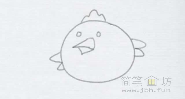 卡通小鸡简笔画的画法【彩色】(4)