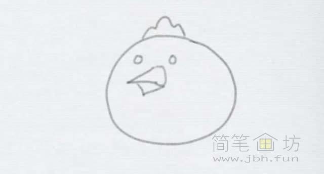卡通小鸡简笔画的画法【彩色】(3)
