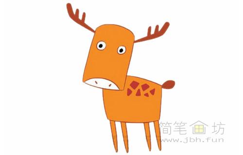 卡通小鹿简笔画的画法(1)