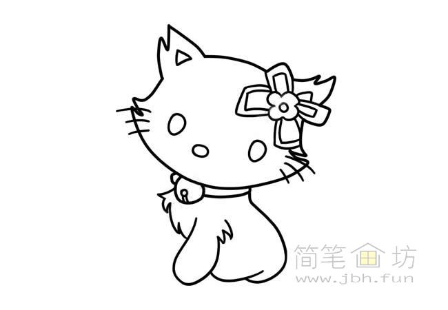 可爱的猫咪简笔画步骤图解教程【彩色】(4)