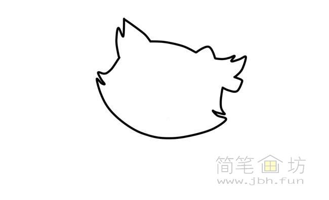 可爱的猫咪简笔画步骤图解教程【彩色】(1)