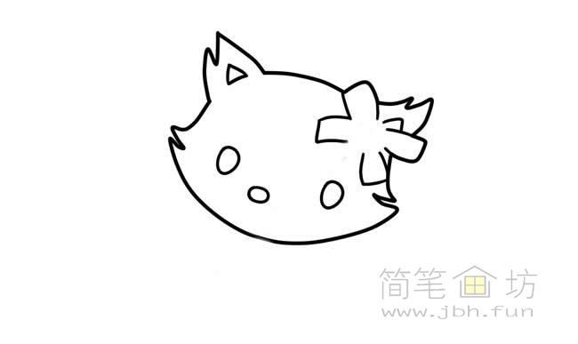可爱的猫咪简笔画步骤图解教程【彩色】(2)