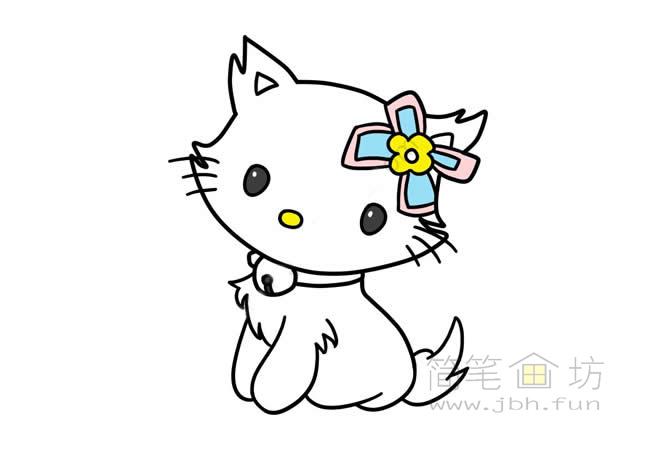 可爱的猫咪简笔画步骤图解教程【彩色】(8)