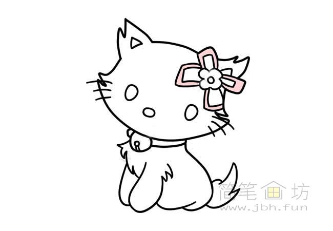 可爱的猫咪简笔画步骤图解教程【彩色】(6)