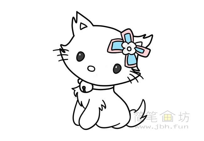 可爱的猫咪简笔画步骤图解教程【彩色】(7)