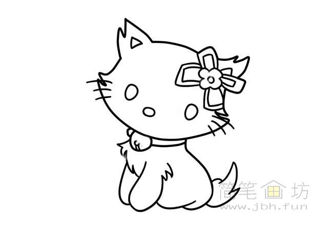 可爱的猫咪简笔画步骤图解教程【彩色】(5)