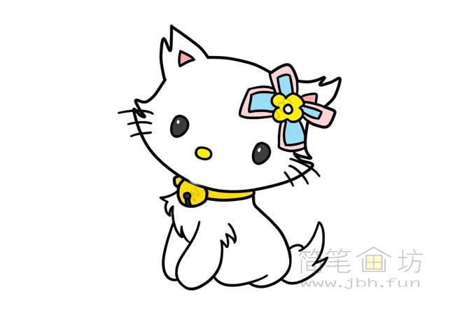 可爱的猫咪简笔画步骤图解教程【彩色】(9)