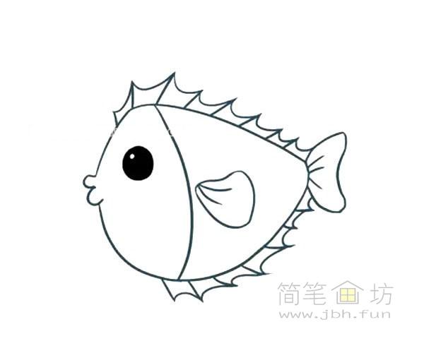 卡通小海鱼简笔画画法图解【彩色】(3)