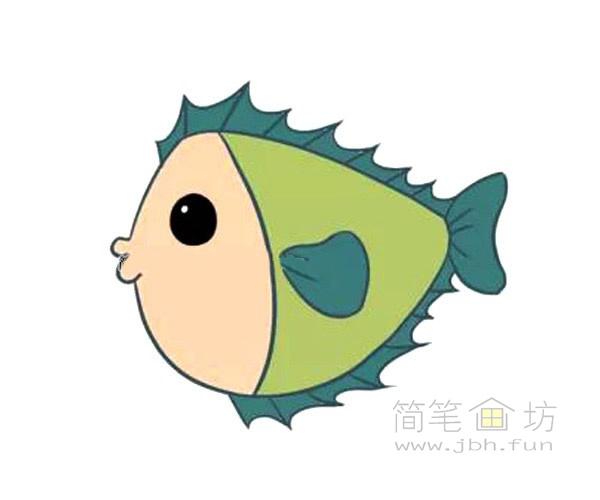 卡通小海鱼简笔画画法图解【彩色】(4)