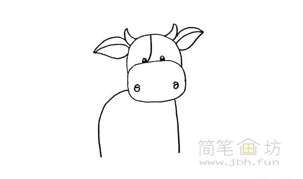 卡通小奶牛简笔画步骤图解教程【彩色】(8)