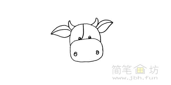 卡通小奶牛简笔画步骤图解教程【彩色】(7)