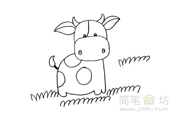 卡通小奶牛简笔画步骤图解教程【彩色】(12)
