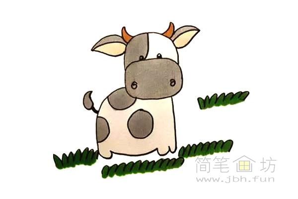 卡通小奶牛简笔画步骤图解教程【彩色】(13)