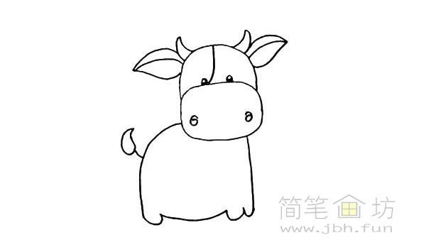 卡通小奶牛简笔画步骤图解教程【彩色】(10)