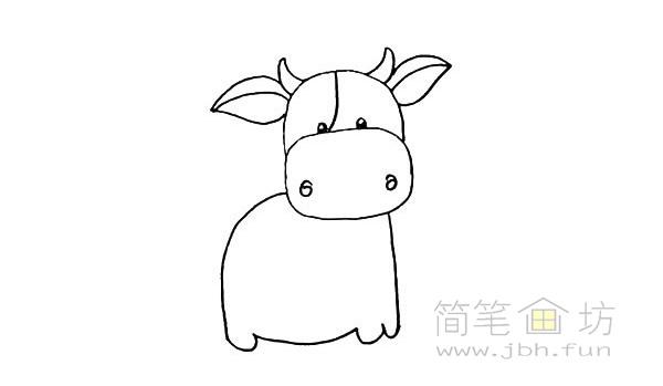 卡通小奶牛简笔画步骤图解教程【彩色】(9)