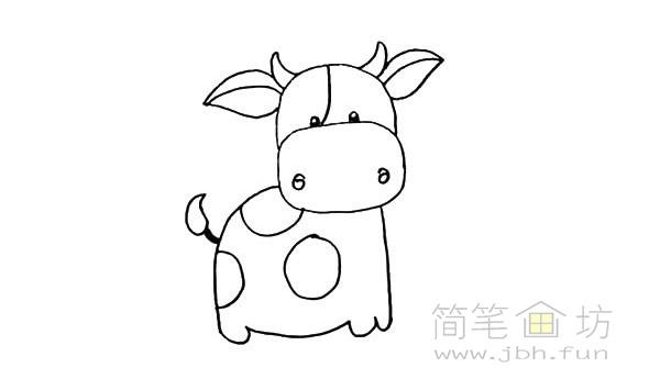 卡通小奶牛简笔画步骤图解教程【彩色】(11)