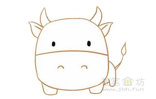 卡通小牛简笔画的画法步骤【彩色】(5)