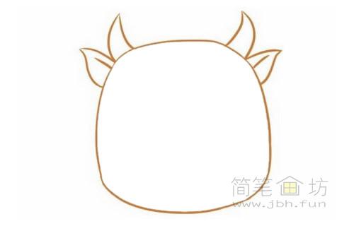 卡通小牛简笔画的画法步骤【彩色】(2)
