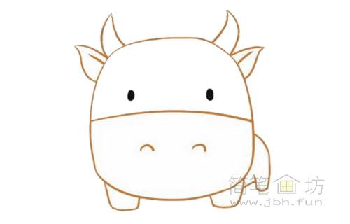 卡通小牛简笔画的画法步骤【彩色】(4)