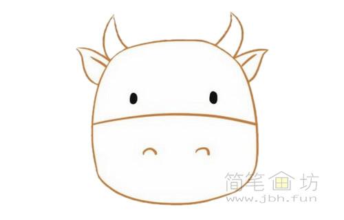 卡通小牛简笔画的画法步骤【彩色】(3)
