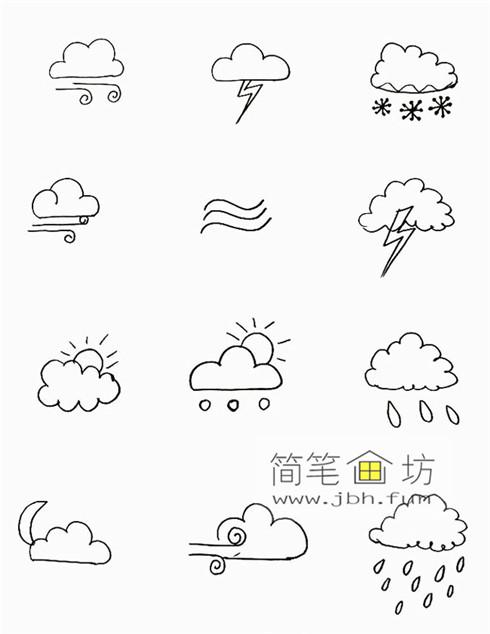 一组可爱的天气手帐简笔画图片(6)