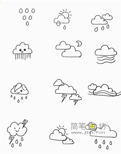 一组可爱的天气手帐简笔画图片(4)